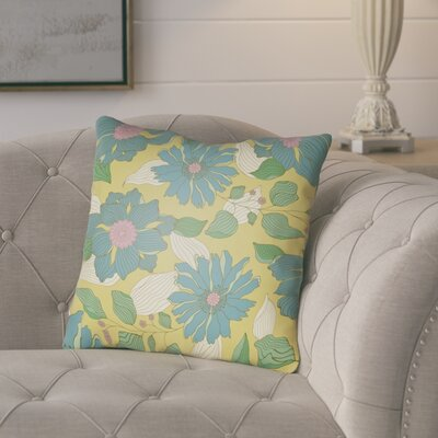 Lyda Flower Throw Pillow Size: 18 H x 18 W x 4 D, Color: Turquoise
