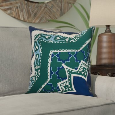 Soluri Rising Star Geometric Outdoor Throw Pillow Size: 18 H x 18 W x 2 D, Color: Navy Blue