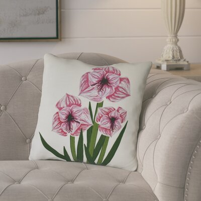 Amanda Amaryllis Floral Print Outdoor Throw Pillow Size: 18 H x 18 W, Color: Pink