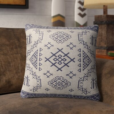 Cyrill Burlap Indoor/Outdoor Throw Pillow Size: 16 H x 16 W x 5 D, Color: Blue/ Ivory