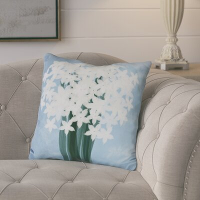 Amanda Paperwhites Floral Print Throw Pillow Color: Light Blue, Size: 18 H x 18 W