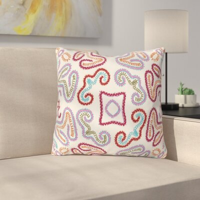 Oak Hill Cotton Throw Pillow Size: 18 H x 18 W x 4 D, Color: Cream/Dark Red/Purple/Orange/Sky Blue/Dark Green