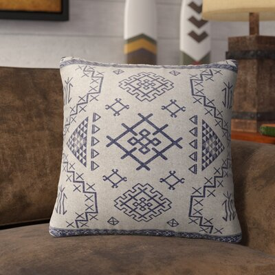 Cyrill Indoor/Outdoor Throw Pillow Size: 26 H x 26 W x 5 D, Color: Blue/ Ivory