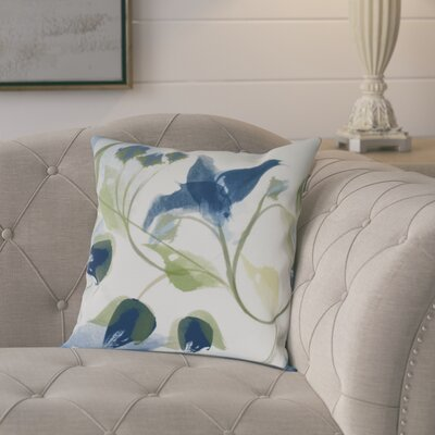 Roscoe Windy Bloom Floral Throw Pillow Size: 18 H x 18 W, Color: Navy Blue