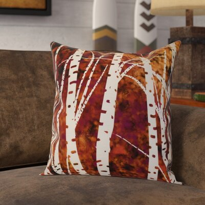 Brookfield Birch Trees Floral Throw Pillow Size: 16 H x 16 W x 2 D, Color: Black