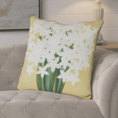 Amanda Paperwhites Floral Print Euro Pillow Color: Gold
