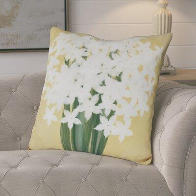 Amanda Paperwhites Floral Print Euro Pillow Color: Gold