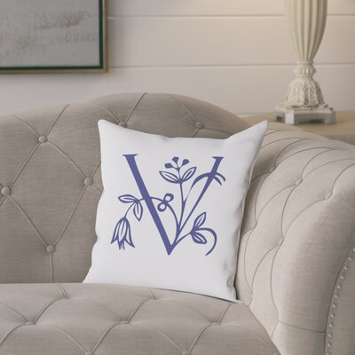 Attina Personalized Floral Initial Throw Pillow Letter: V