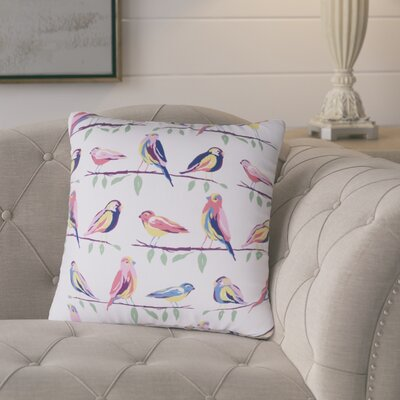 Burnsfield Birds Outdoor Throw Pillow (Set of 2) Color: White/Pink