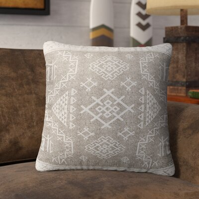 Cyrill Burlap Indoor/Outdoor Throw Pillow Size: 16 H x 16 W x 5 D, Color: Beige/ White
