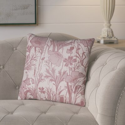 Teena Floral Throw Pillow Size: 22 H x 22 W x 5 D, Color: Pink