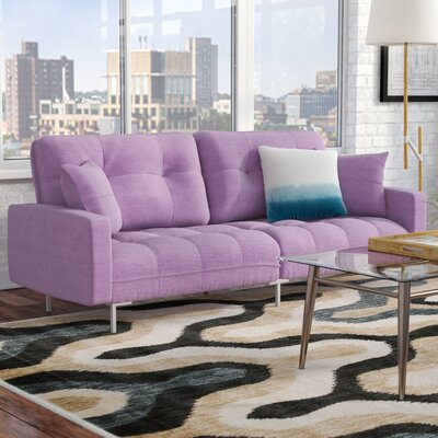 Frederick Modern Plush Tufted Convertible Sofa Upholstery: Light Purple