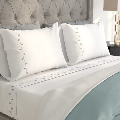 Hedgerley Embroidered 200 Thread Count 100% Cotton Sheet Set Size: Queen, Color: Gray