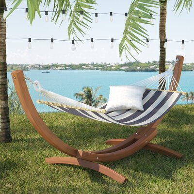 Grissom Free-Standing Patio Hammock with Stand Color: Blue/Green