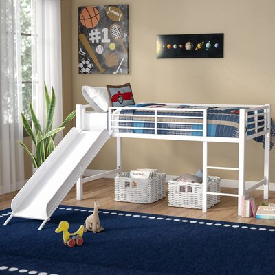 Harper Twin Low Loft Bed Color: White