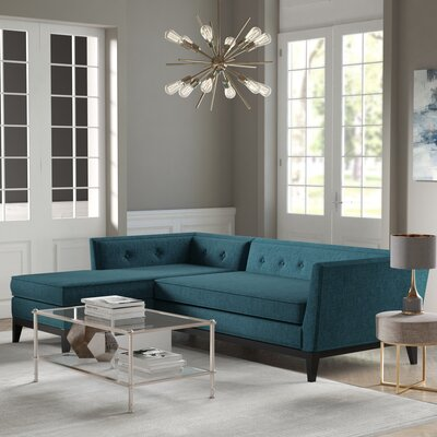 Hobart Textured Modular Sectional Upholstery: Azure, Orientation: Left Hand Facing