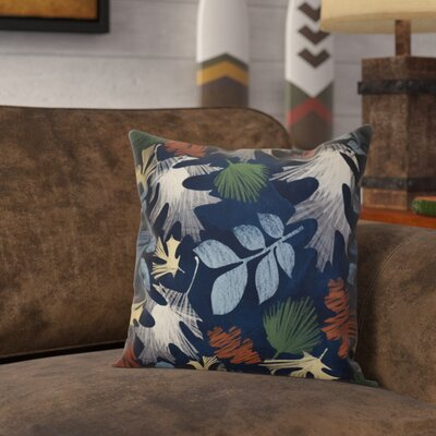 Brookfield Watercolor Leaves Floral Outdoor Throw Pillow Size: 18 H x 18 W x 2 D, Color: Navy Blue