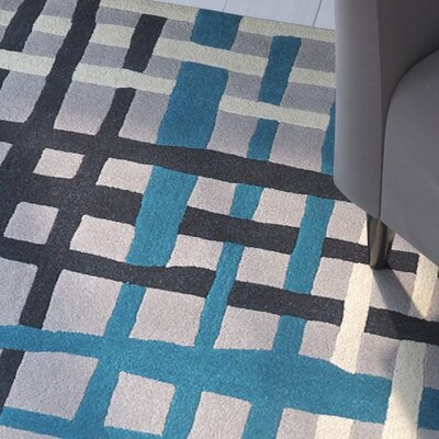 Courtney Hand-Tufted Teal/Frost Gray Area Rug Rug Size: 4 x 6