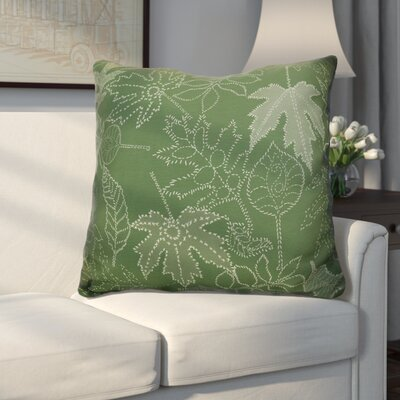 Miller Dotted Leaves Floral Euro Pillow Color: Green