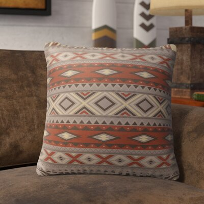 Cabarley Indoor/Outdoor Throw Pillow Size: 16 H x 16 W x 5 D, Color: Red/ Grey