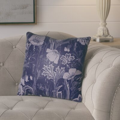 Teena Floral Throw Pillow Size: 18 H x 18 W x 4 D, Color: Dark Plum