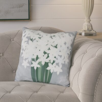Amanda Paperwhites Floral Print Throw Pillow Size: 18 H x 18 W, Color: Gray