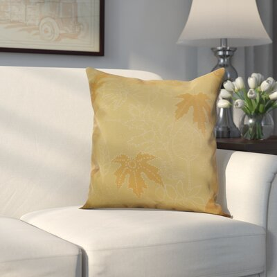 Miller Dotted Leaves Floral Throw Pillow Size: 16 H x 16 W x 2 D, Color: Gold