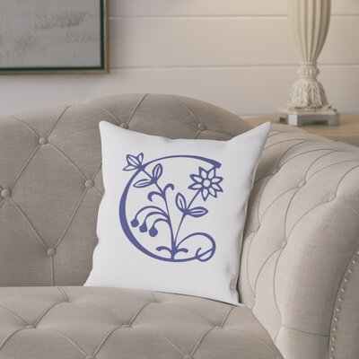 Attina Personalized Floral Initial Throw Pillow Letter: C