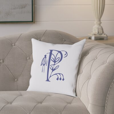 Attina Personalized Floral Initial Throw Pillow Letter: P