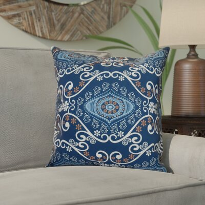 Soluri Illuminate Geometric Outdoor Throw Pillow Size: 16 H x 16 W x 2 D, Color: Navy Blue