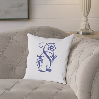 Attina Personalized Floral Initial Throw Pillow Letter: S