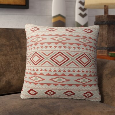 Cabarley Indoor/Outdoor Throw Pillow Size: 26 H x 26 W x 5 D, Color: Red/ Tan/ Ivory