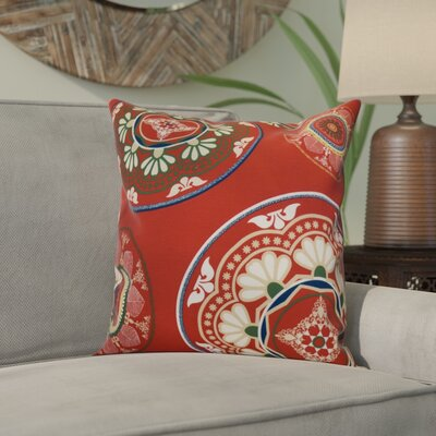 Soluri Medallions Outdoor Throw Pillow Size: 18 H x 18 W x 2 D, Color: Red