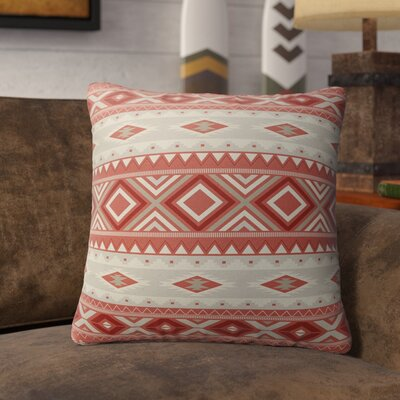 Cabarley Indoor/Outdoor Throw Pillow Size: 26 H x 26 W x 5 D, Color: Red/ Tan