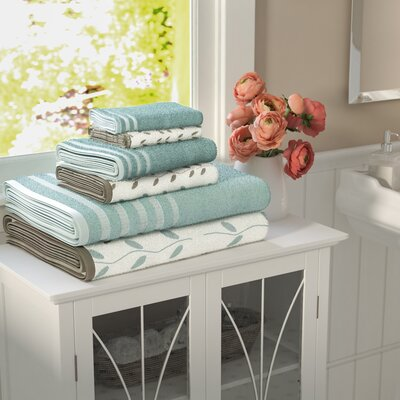 Vines 6 Piece Towel Set Color: Aqua
