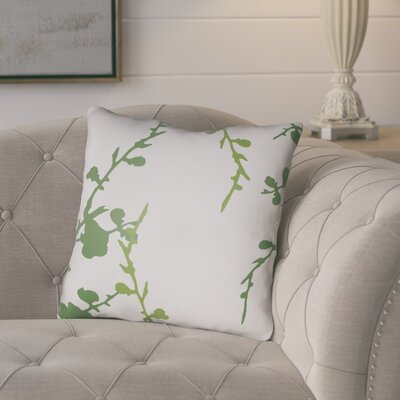 Teena Throw Pillow Size: 20 H x 20 W x 4 D, Color: White/Green