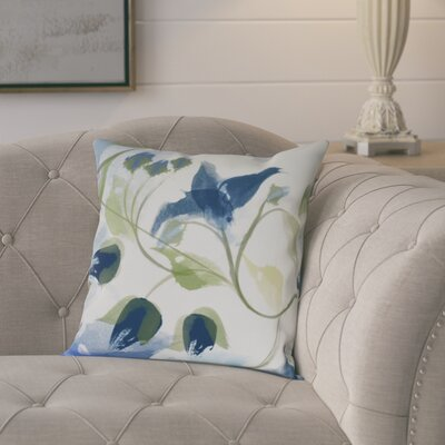 Roscoe Windy Bloom Floral Outdoor Throw Pillow Size: 16 H x 16 W, Color: Navy Blue