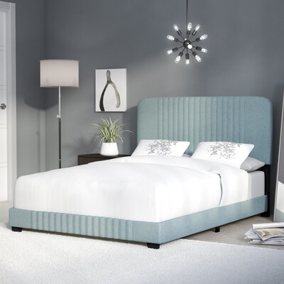 Delp Mid-Century All-in-One Upholstered Panel Bed Size: Queen, Color: Dupree Delft Blue