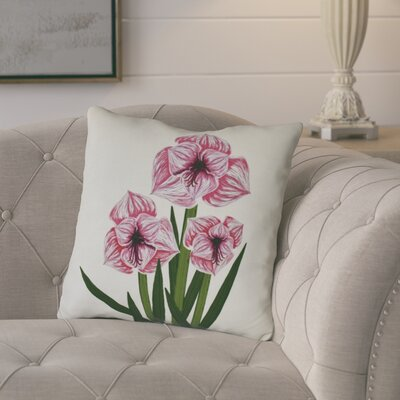 Amanda Amaryllis Floral Print Throw Pillow Size: 18 H x 18 W, Color: Pink