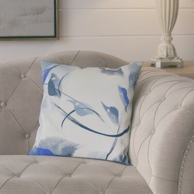 Roscoe Windy Floral Outdoor Throw Pillow Size: 16 H x 16 W, Color: Navy Blue