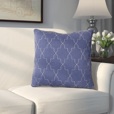 Russell Throw Pillow Size: 18 H x 18 W x 4 D, Color: Navy / Silver