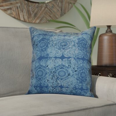Soluri Patina Outdoor Throw Pillow Size: 18 H x 18 W x 2 D, Color: Blue