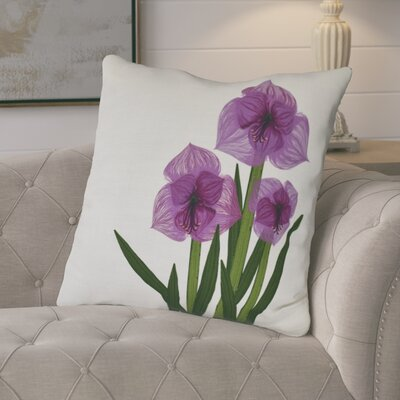 Amanda Amaryllis Floral Print Euro Pillow Color: Purple