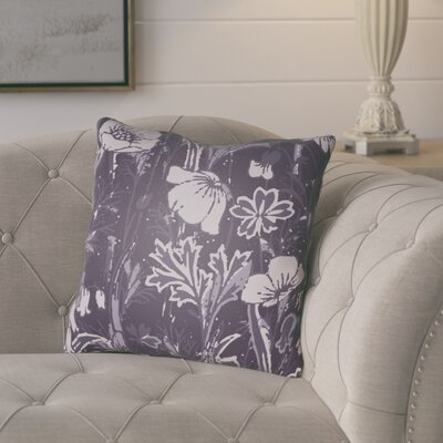 Teena Floral Throw Pillow Size: 20 H x 20 W x 4 D, Color: Dark Purple