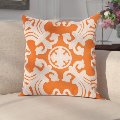 Goodrum 100% Cotton Throw Pillow Size: 18 H x 18 W x 2.5 D, Color: Orange