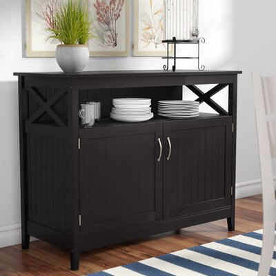 Arabell Server with Wooden Top Color: Black