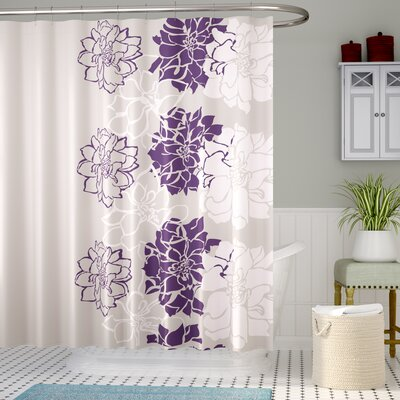 Broadwell Cotton Shower Curtain Color: Purple
