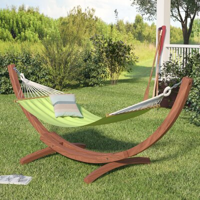 Grissom Free-Standing Cotton Patio Hammock with Stand Color: Lime Green