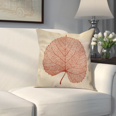 Miller Leaf Study Floral Throw Pillow Size: 18 H x 18 W x 2 D, Color: Dark Rust
