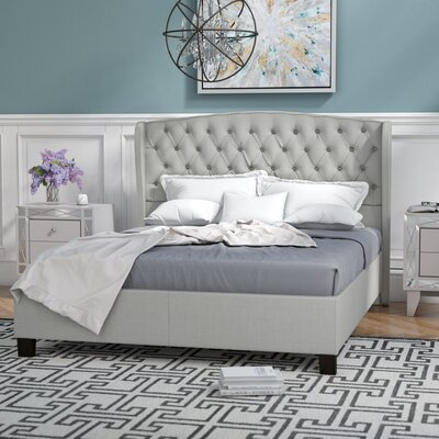 Hughes Queen Upholstered Platform Bed Color: Light Gray